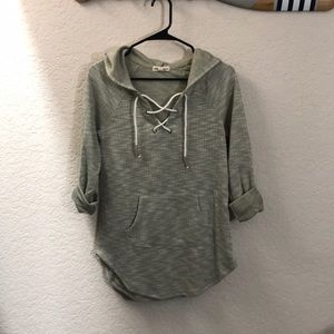 Tops - Hooded, lace up sweatshirt